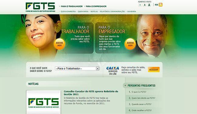 Site dedicado exclusivamente ao FGTS registrou mais de dois milhões de acessos em 2012 - Foto: Reprodução