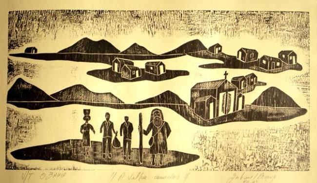 Artista retrata o sertão através da xilogravura - Foto: Reprodução | Obra de Gabriel Arcanjo