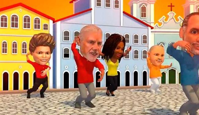 No vídeo, avatares de Pelegrino e Olívia aparecem em coreografia com Wagner, Dilma e Lula - Foto: Reprodução A TARDE On Line