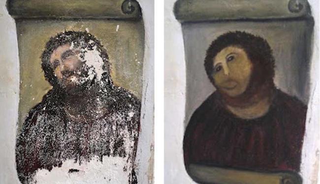 A restauração desastrosa foi feita pela artista amadora Célia Gimenez , 80 anos - Foto: HO-Centro de Estudios Borjanos   Agência Reuters