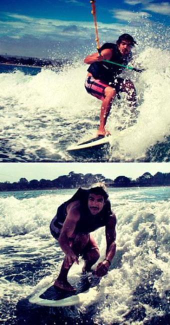 O ator aparece praticando wakeboard na Califórnia - Foto: Reprodução | Instagram