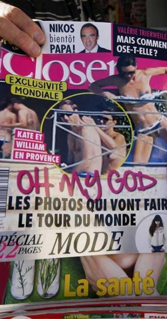 Capa de revista francesa com Kate de topless - Foto: Eric Gaillard | Agência Reuters