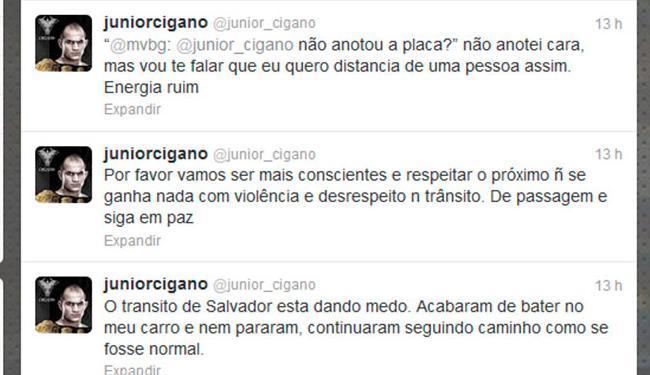 Júnior Cigano relatou acidente no Twitter - Foto: Reprodução | Twitter