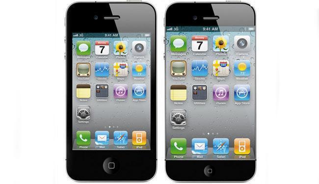 O modelo da esquerda, um dos vários que vazou na internet, deve se aproximar muito do iPhone 5 - Foto: Reprodução