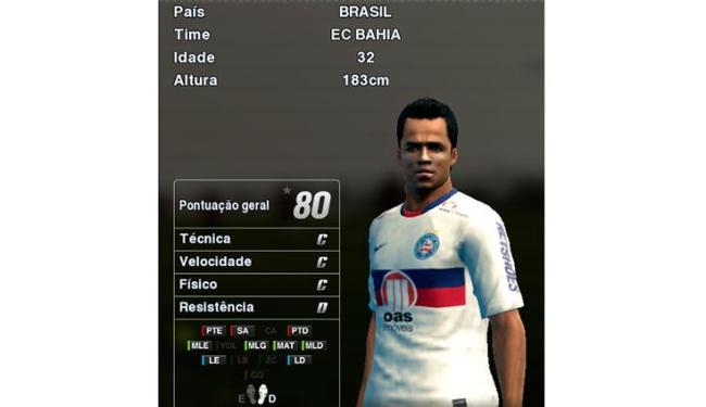 Com nota geral 80, Mancini é um dos destaques do tricolor baiano no game PES 2013 - Foto: Konami / Divulgação