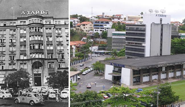 Sede antiga do jornal, no Centro Histórico; e atual, consequência da modernização do parque gráfico - Foto: Agência A TARDE