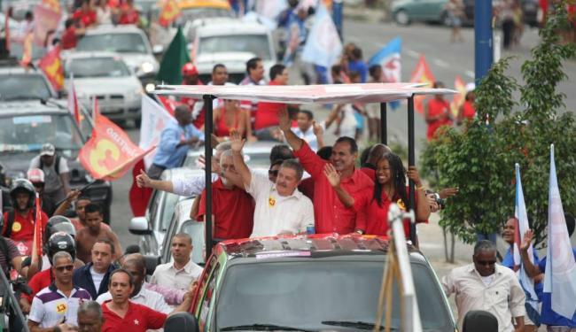 Pelegrino, Lula e Wagner também participaram de carreata na Avenida Suburbana - Foto: Divulgação