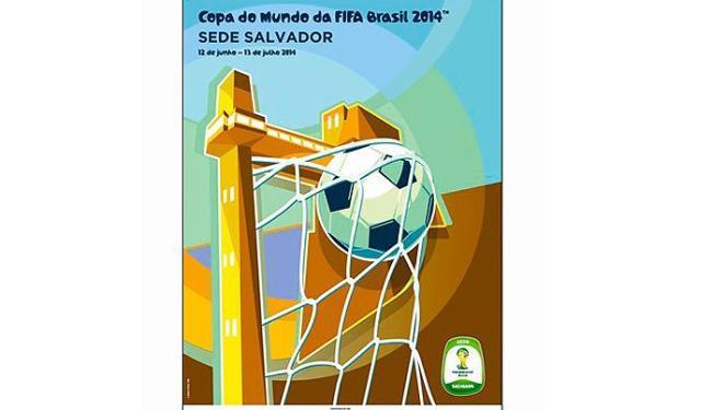 Imagem destaca o Elevador Lacerda, cartão postal de Salvador, usado como trave para um gol - Foto: Fifa/Divulgação