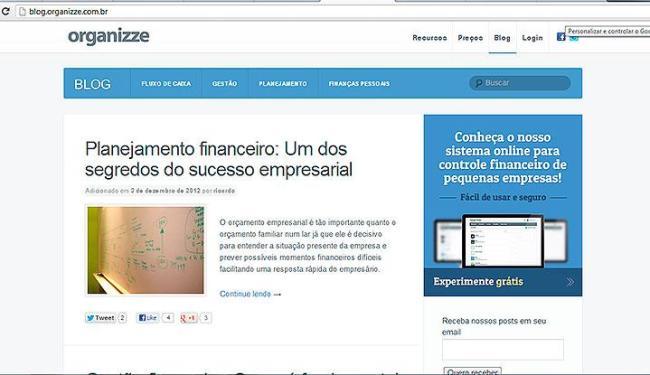 Organizze conta com blog que orienta e dá dicas sobre planejamento financeiro - Foto: Reprodução