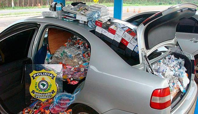 Material apreendido era procedente do Paraguai e não possuía nota fiscal - Foto: Divulgação   PRF