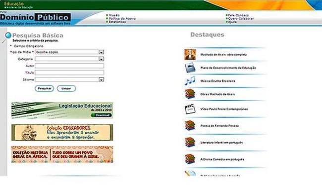 O site do Domínio Público oferece conteúdo para estudantes e pesquisadores em geral - Foto: Reprodução I A TARDE