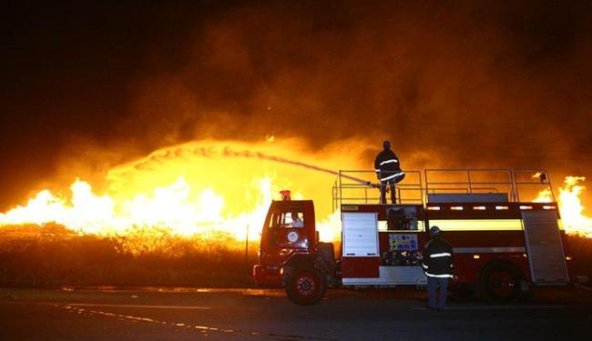 Bombeiros tentam conter as chamas que estão próximas de uma fábrica de celulose - Foto: Luciano da Matta | Ag. A TARDE
