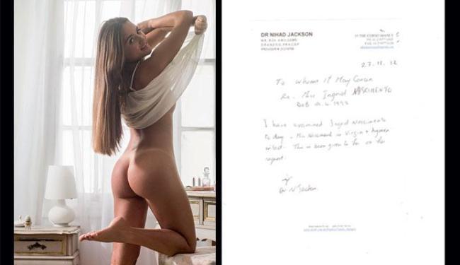Laudo foi feito a pedido de Catarina Miglorini, que leiloou a virgindade - Foto: Divulgação | Playboy