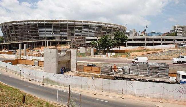 Obra do viaduto que ligará a ArenaFonte Nova a Av. Bonocô - Foto: Lúcio Távora | Agência A TARDE