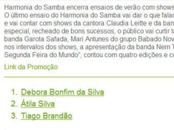 Ganhadores vão conferir o último ensaio do Harmonia do Samba - Foto: Reprodução
