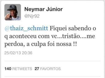 Neymar twittou o pedido de desculpa para a coelhinha - Foto: Reprodução | Twitter