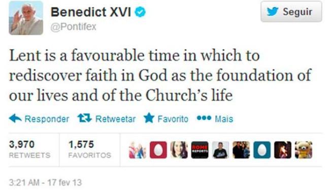 Papa posta mensagem no @Pontifex sobre a Quaresma - Foto: Reprodução | Twitter