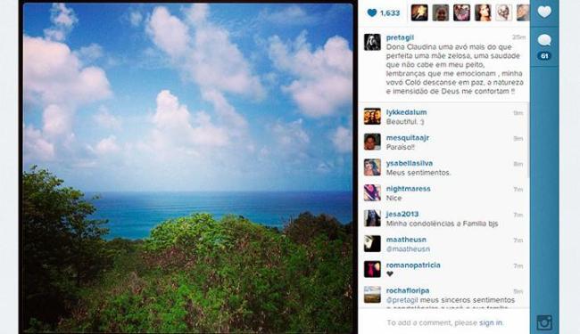 Com a mensagem, Preta postou uma foto de Fernando de Noronha onde passa férias - Foto: Reprodução | Instagram