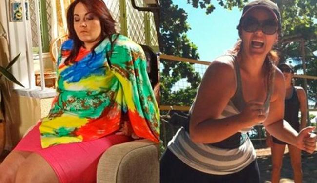 Renata Celidônio antes da cirurgia, em Aquele Beijo, e depois, com 54 kg a menos - Foto: Divulgação