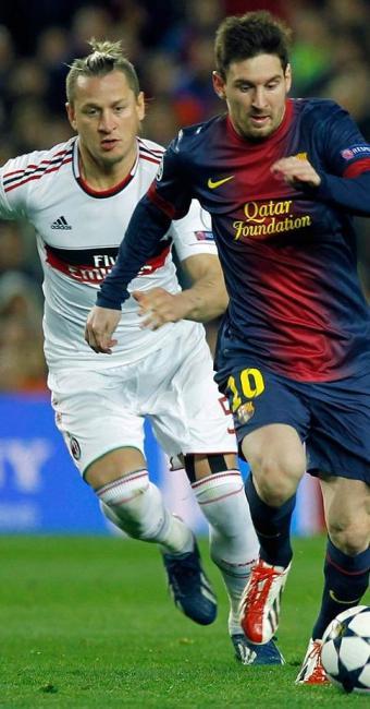 Com dois gols de Messi, Barcelona goleia o Milan e avança às quartas de final da Champions - Foto: Andreu Daumau | Agência Efe