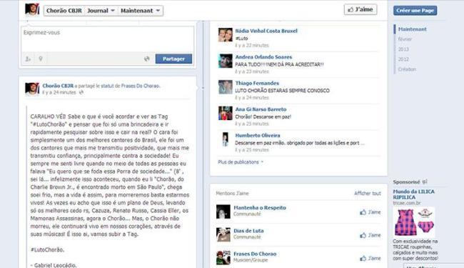 Administrador de página em homenagem ao cantor demonstra tristeza em mensagem - Foto: Reprodução   Facebook