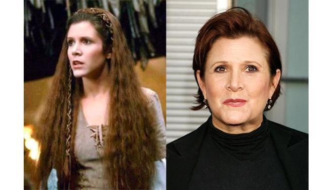 Carrie Fisher em dois momentos, quando interpretou a Princesa Leia em O Retorno de Jedi (1983) e em - Foto: Agência Reuters