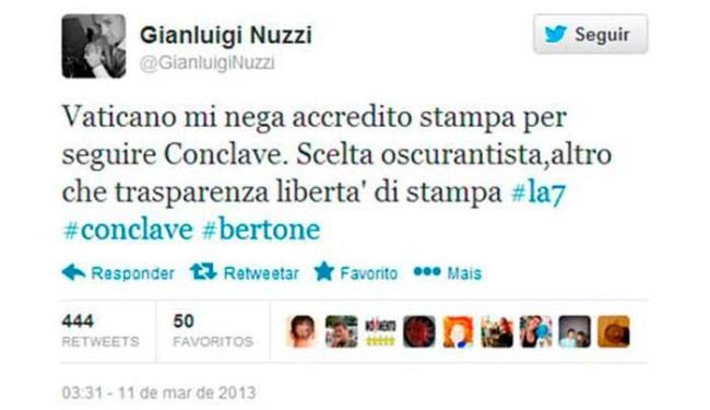 Reprodução de post do Twitter de Gianluigi Nuzzi - Foto: Reprodução | Twitter