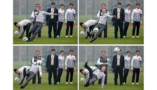 Veja imagens da sequência do tombo de Beckham - Foto: Agência Reuters