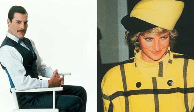 Freddie Mercury morreu em 1991, de Aids; e Lady Di em 1997, em um acidente de carro - Foto: The History Channel | Divulgação e Reprodução