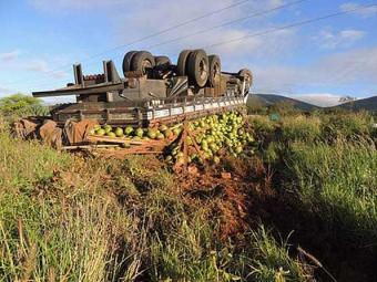 Veículo seguia com destino a Minas Gerais quando sofreu o acidente - Foto: Lay Amorim   Brumado Notícias