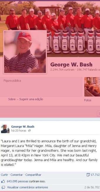 Bush anuncia chegada da neta em sua página no Facebook - Foto: Reprodução