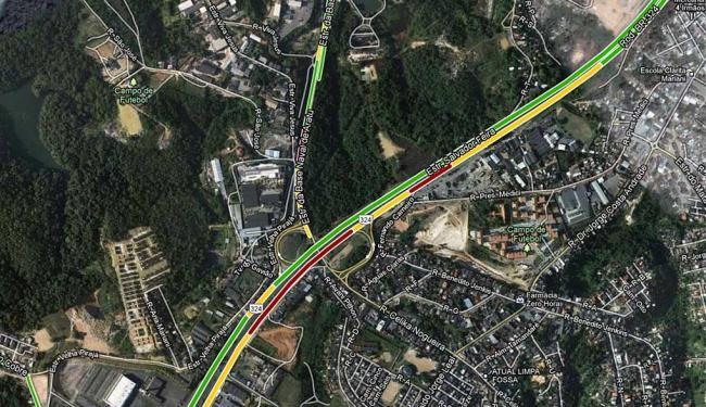 Trânsito está congestionado nas imediações da Brasilgás - Foto: Reprodução   Google Maps