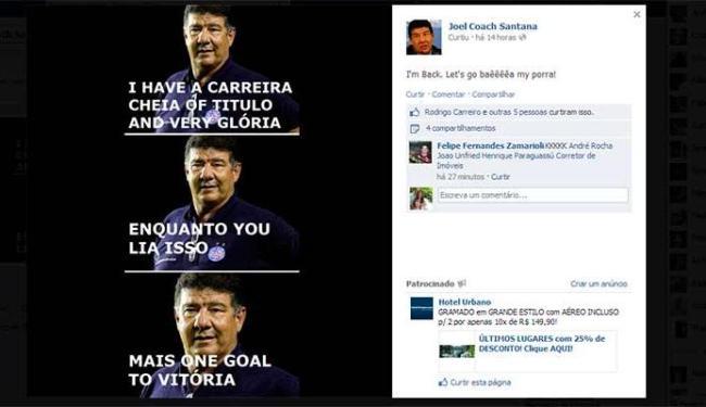 Joel Santana é homenageado por um perfil no Facebook em que brinca com o inglês do treinador - Foto: Reprodução | Facebook