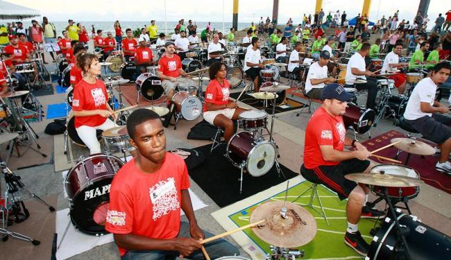 Músicos fazem a segunda edição do Encontro de Bateristas de Salvador - Foto: Margarida Neide | Ag. A TARDE