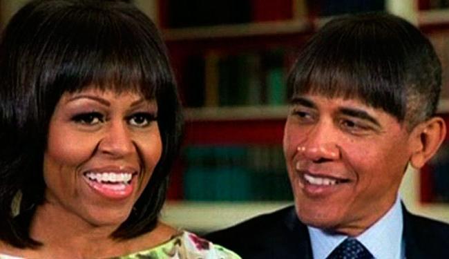 Fotomontagem do presidente Obama usando a franja de Michele, sua mulher. - Foto: Casa Branca, Divulgação
