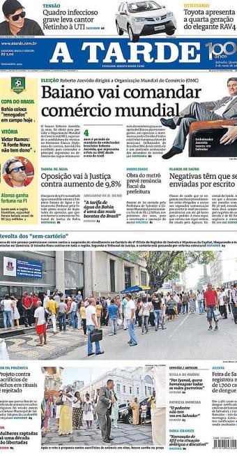 Capa do jornal A TARDE, edição desta quarta-feira, dia 8 - Foto: Ag. A TARDE