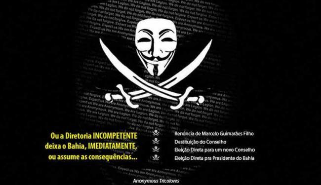 Grupo identificado como Anonymous Tricolores pede renúncia de Marcelo Guimarães Filho - Foto: Protesto na página oficial do Bahia   Reprodução