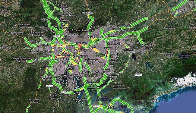 Mapa de trânsito de São Paulo pelo Google Maps - Foto: Reprodução | Google Maps