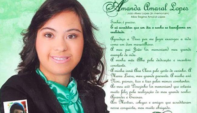 Amanda passou em dois vestibulares ainda no 3º ano - Foto: Divulgação