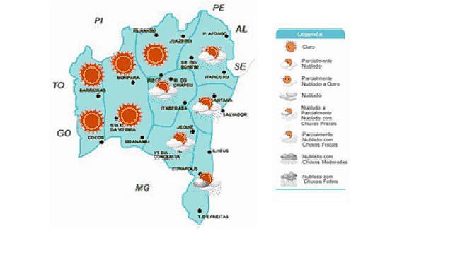 Mapa da previsão para a Bahia - Foto: Divulgação | Ascom Inema
