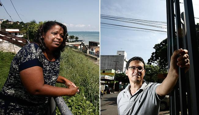 Adilma Pinheiro (Escada) tem menos policiais, mas gosta do lugar; já Paulo Carvalho (Pituba) reclama - Foto: Raul Spinassé | Ag. A TARDE