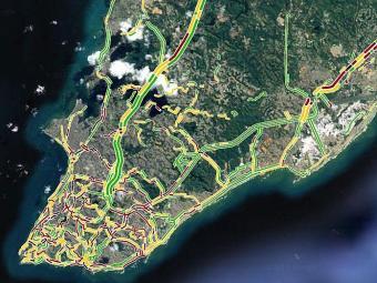 Google Maps aponta ruas em vermelho às 18h15 - Foto: Reprodução   Google Maps