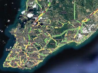 Mapa de trânsito do Google Maps mostra vias travadas - Foto: Reprodução | Google Maps