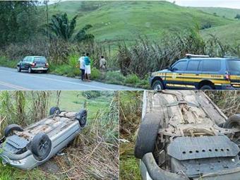 Apesar do acidente, ocupantes não sofreram ferimentos - Foto: Reprodução   Site Itapebi Acontece