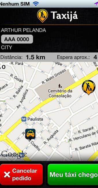 Janela de informação, onde o usuário ver as informações do taxista e vice-versa - Foto: Divulgação   Taxijá