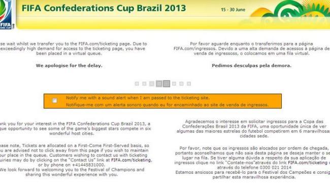 Tela no site da Fifa indicava ao usuário uma