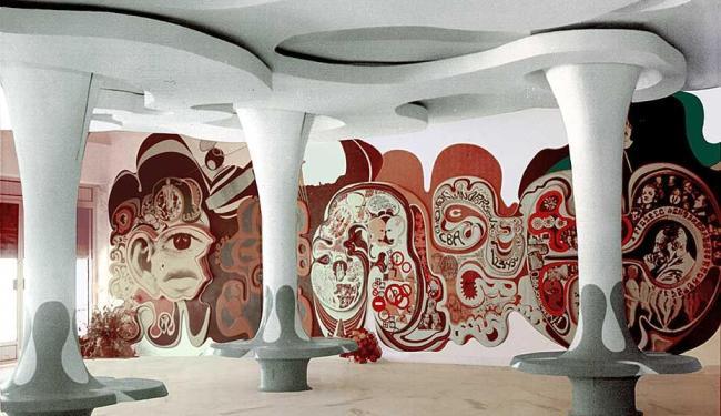 Arte ambiental de Juarez paraíso, de 1968, no Cine Tupy - Foto: Divulgação