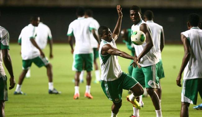 A seleção nigeriana treinou na quarta, 19, na Arena Fonte Nova - Foto: Fernando Amorim   Ag. A TARDE