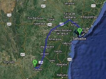 Bom Jesus da Serra fica a 452 km distante da capital baiana - Foto: Google Mapas