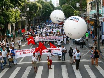 Uma das últimas participações da CUT e do PT em manifestações foi em 2010, no Grito da Água - Foto: Manuela Cavadas | Ag. A TARDE